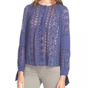 Rebecca Taylor Embroidered Silk Amethyst Blouse